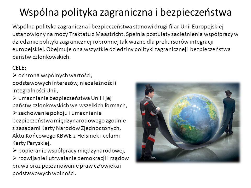 Wspólna polityka zagraniczna i bezpieczeństwa Wspólna polityka zagraniczna i bezpieczeństwa stanowi drugi filar Unii Europejskiej ustanowiony na mocy