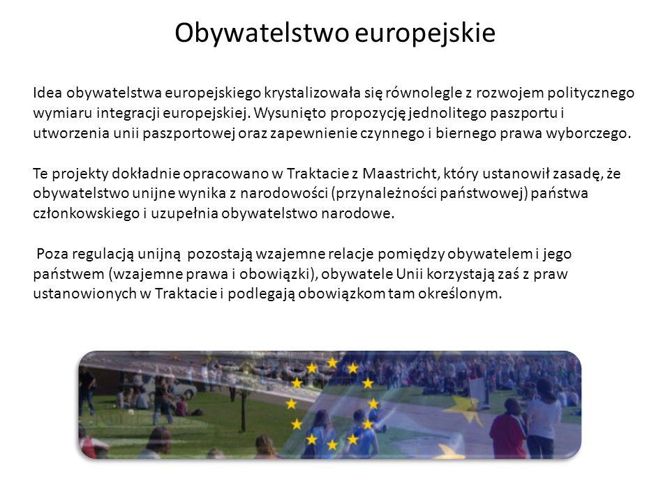 Obywatelstwo europejskie Idea obywatelstwa europejskiego krystalizowała się równolegle z rozwojem politycznego wymiaru integracji europejskiej. Wysuni
