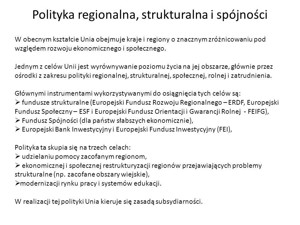 Polityka regionalna, strukturalna i spójności W obecnym kształcie Unia obejmuje kraje i regiony o znacznym zróżnicowaniu pod względem rozwoju ekonomic