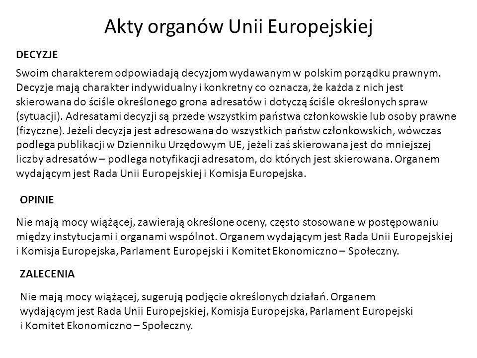 Akty organów Unii Europejskiej Swoim charakterem odpowiadają decyzjom wydawanym w polskim porządku prawnym. Decyzje mają charakter indywidualny i konk