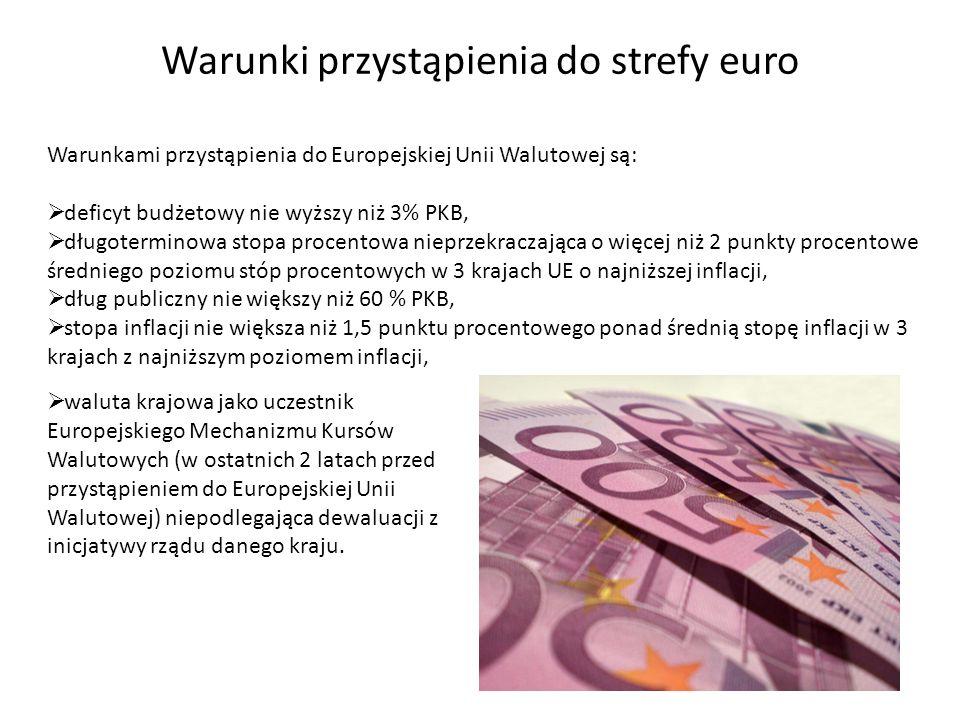Warunki przystąpienia do strefy euro Warunkami przystąpienia do Europejskiej Unii Walutowej są: deficyt budżetowy nie wyższy niż 3% PKB, długoterminow