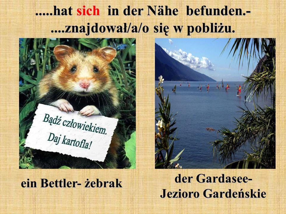 .....hat sich in der Nähe befunden.-....znajdował/a/o się w pobliżu. ein Bettler- żebrak der Gardasee- Jezioro Gardeńskie