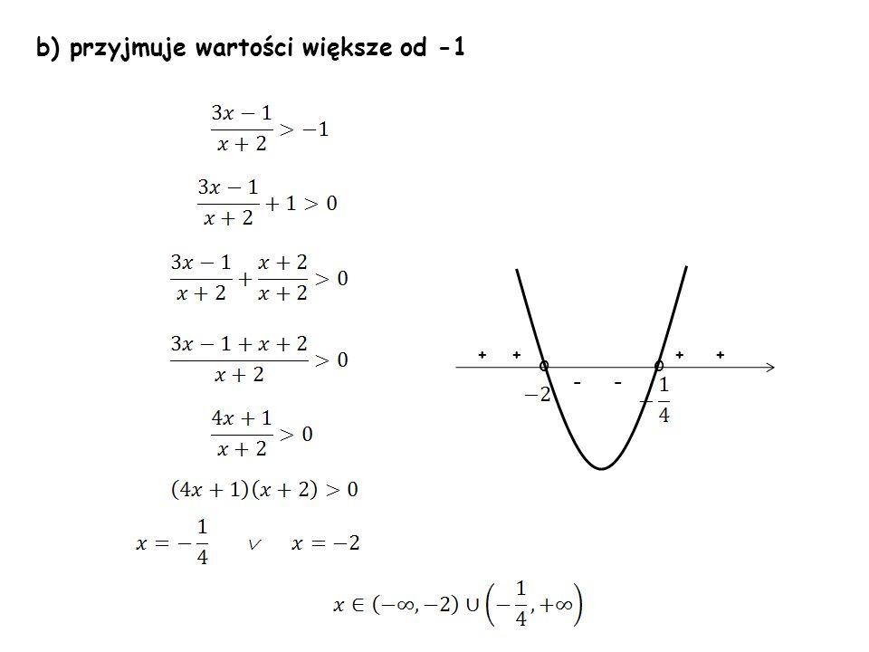b) przyjmuje wartości większe od -1 oo ++++ --
