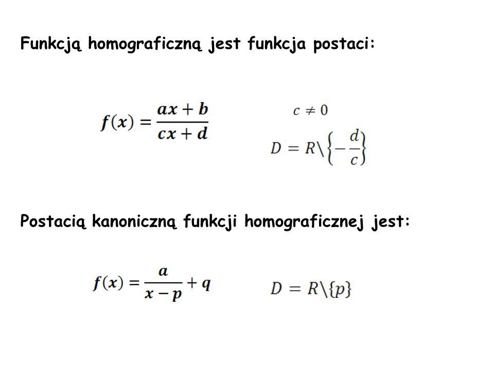 Funkcją homograficzną jest funkcja postaci: Postacią kanoniczną funkcji homograficznej jest: