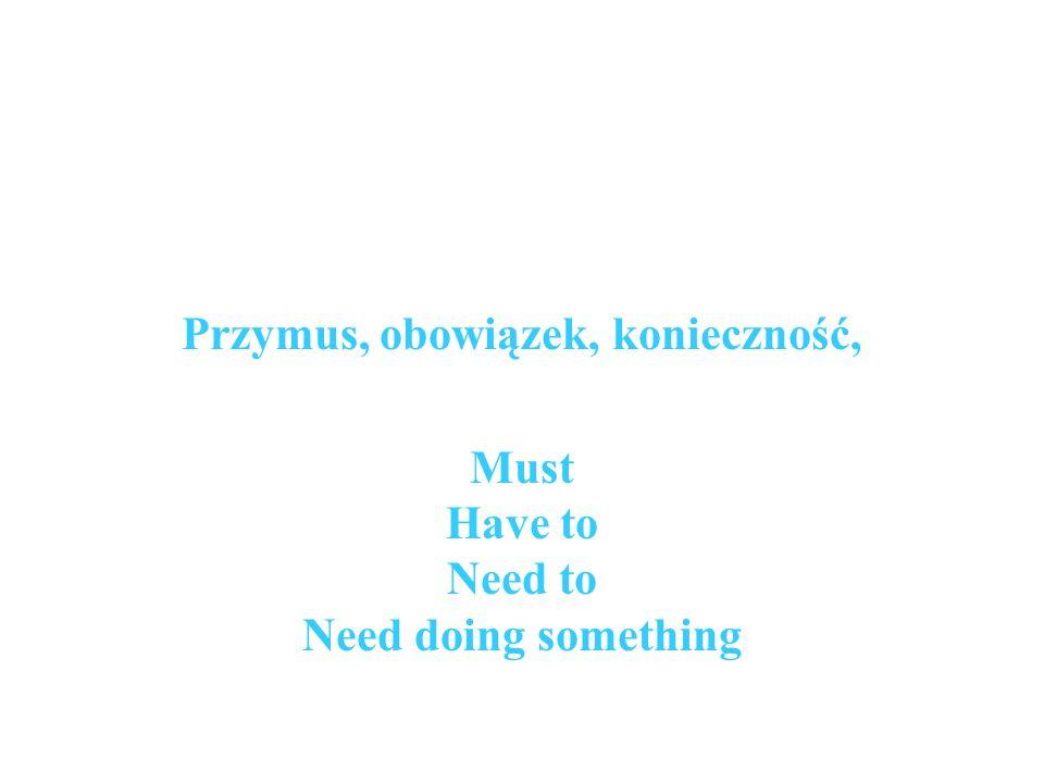Przymus, obowiązek, konieczność, Must Have to Need to Need doing something