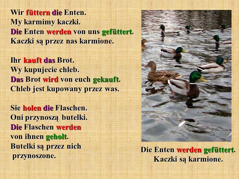 Wir füttern die Enten. My karmimy kaczki. Die Enten werden von uns gefüttert. Kaczki są przez nas karmione. Ihr kauft das Brot. Wy kupujecie chleb. Da