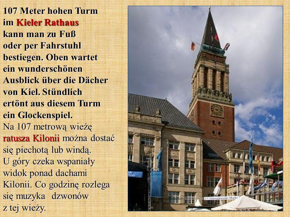 107 Meter hohen Turm im Kieler Rathaus kann man zu Fuß oder per Fahrstuhl bestiegen.