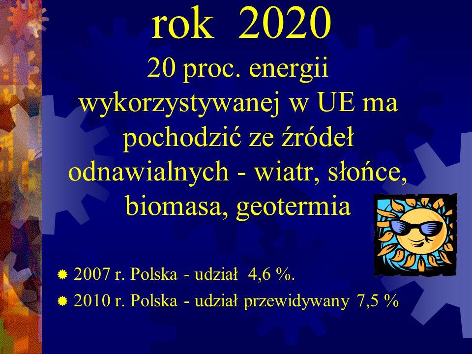 rok 2020 20 proc. energii wykorzystywanej w UE ma pochodzić ze źródeł odnawialnych - wiatr, słońce, biomasa, geotermia 2007 r. Polska - udział 4,6 %.