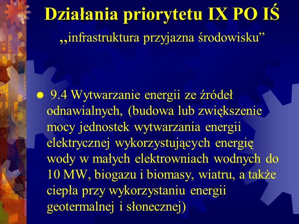 Działania priorytetu IX PO IŚ Działania priorytetu IX PO IŚ infrastruktura przyjazna środowisku 9.4 Wytwarzanie energii ze źródeł odnawialnych, (budow