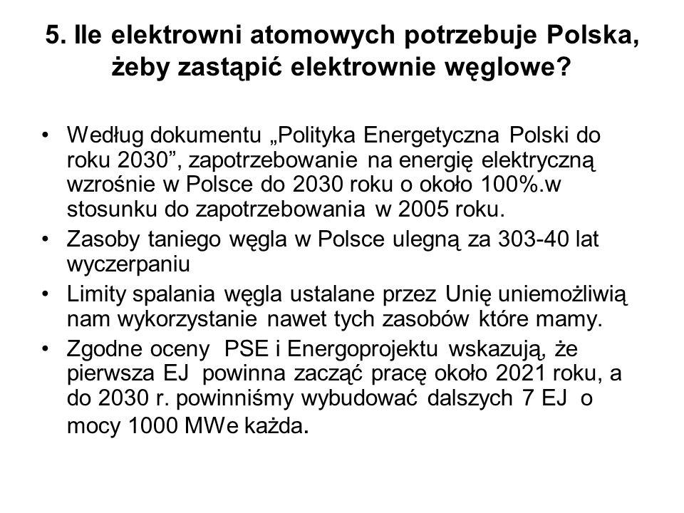 5. Ile elektrowni atomowych potrzebuje Polska, żeby zastąpić elektrownie węglowe? Według dokumentu Polityka Energetyczna Polski do roku 2030, zapotrze