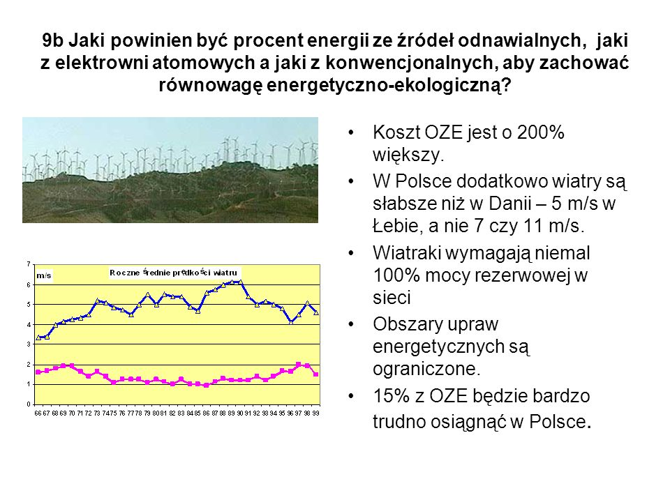 9b Jaki powinien być procent energii ze źródeł odnawialnych, jaki z elektrowni atomowych a jaki z konwencjonalnych, aby zachować równowagę energetyczno-ekologiczną.