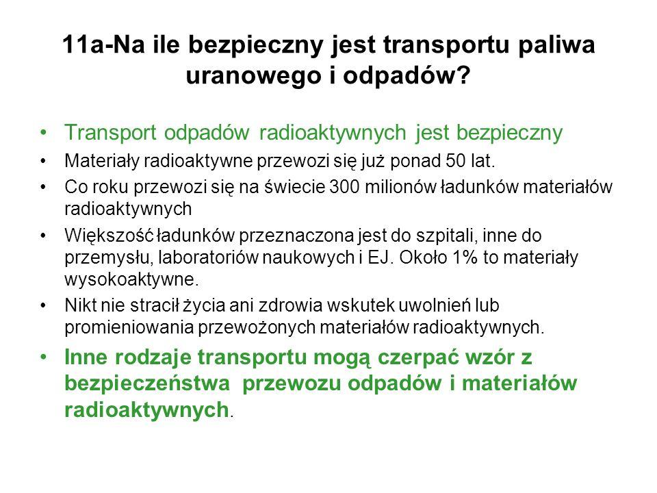 11a-Na ile bezpieczny jest transportu paliwa uranowego i odpadów? Transport odpadów radioaktywnych jest bezpieczny Materiały radioaktywne przewozi się