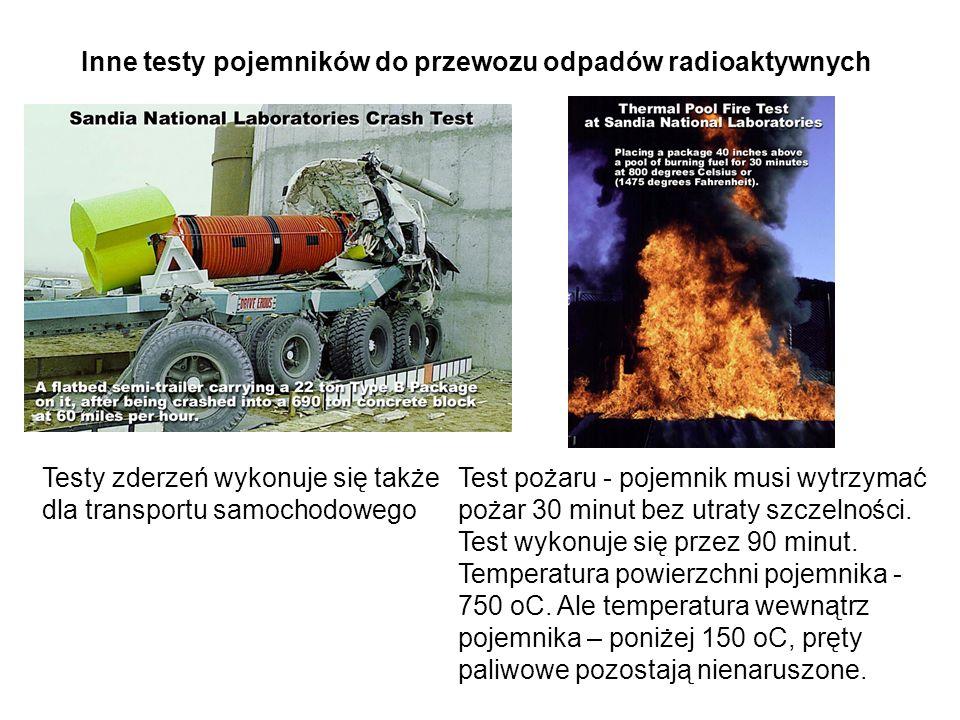 Testy zderzeń wykonuje się także dla transportu samochodowego Inne testy pojemników do przewozu odpadów radioaktywnych Test pożaru - pojemnik musi wytrzymać pożar 30 minut bez utraty szczelności.
