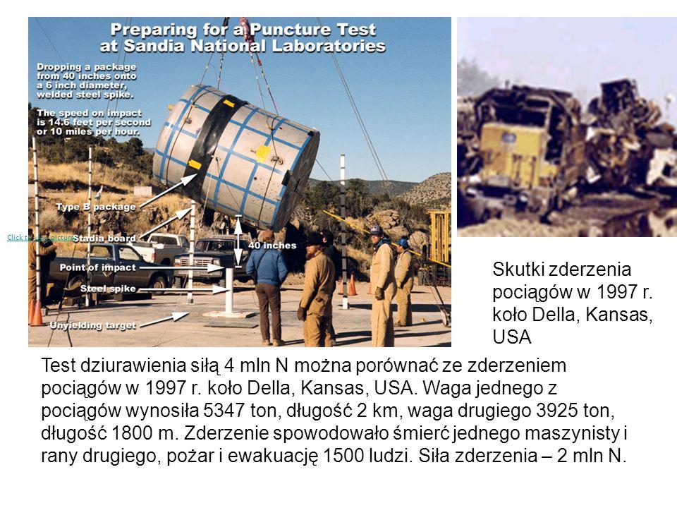 Test dziurawienia siłą 4 mln N można porównać ze zderzeniem pociągów w 1997 r. koło Della, Kansas, USA. Waga jednego z pociągów wynosiła 5347 ton, dłu