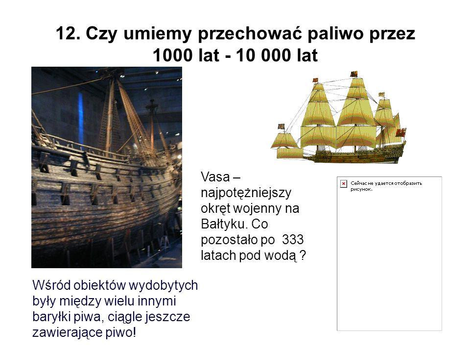 12. Czy umiemy przechować paliwo przez 1000 lat - 10 000 lat Vasa – najpotężniejszy okręt wojenny na Bałtyku. Co pozostało po 333 latach pod wodą ? Wś