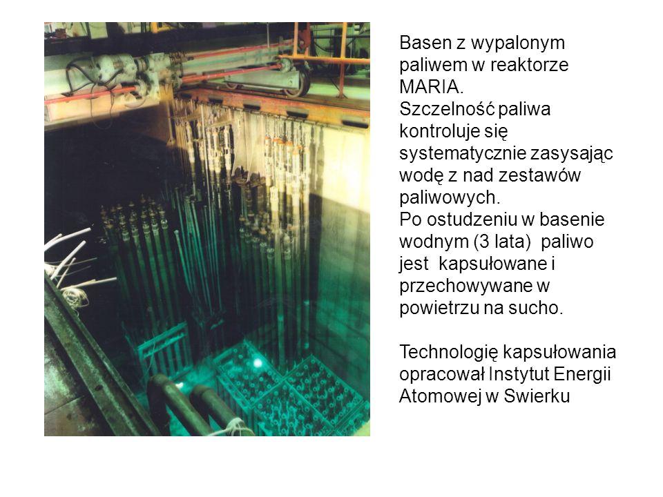 Basen z wypalonym paliwem w reaktorze MARIA. Szczelność paliwa kontroluje się systematycznie zasysając wodę z nad zestawów paliwowych. Po ostudzeniu w
