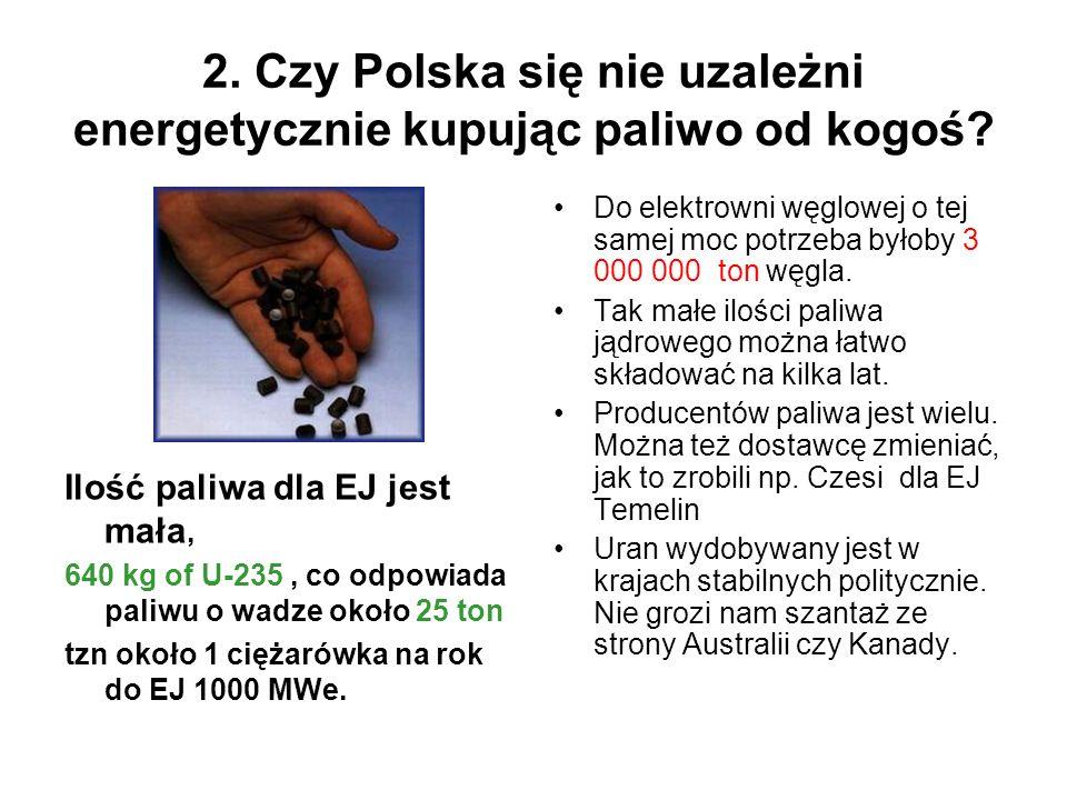2. Czy Polska się nie uzależni energetycznie kupując paliwo od kogoś? Ilość paliwa dla EJ jest mała, 640 kg of U-235, co odpowiada paliwu o wadze okoł