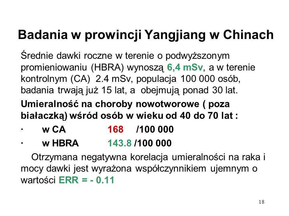 18 Badania w prowincji Yangjiang w Chinach Średnie dawki roczne w terenie o podwyższonym promieniowaniu (HBRA) wynoszą 6,4 mSv, a w terenie kontrolnym