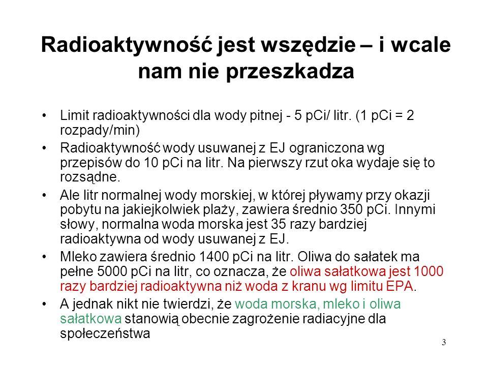 3 Radioaktywność jest wszędzie – i wcale nam nie przeszkadza Limit radioaktywności dla wody pitnej - 5 pCi/ litr. (1 pCi = 2 rozpady/min) Radioaktywno
