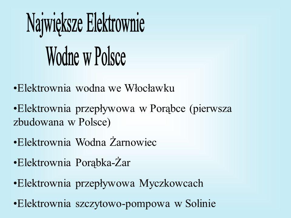 Elektrownia wodna we Włocławku Elektrownia przepływowa w Porąbce (pierwsza zbudowana w Polsce) Elektrownia Wodna Żarnowiec Elektrownia Porąbka-Żar Ele