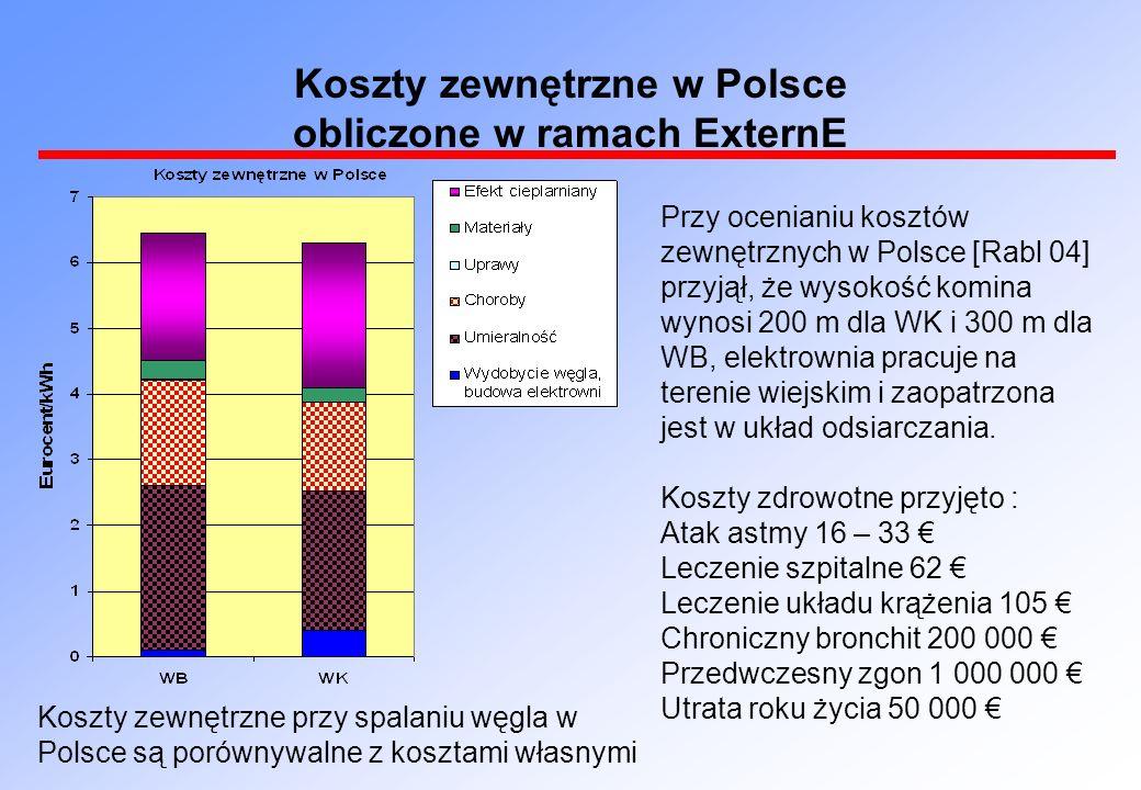 Przy ocenianiu kosztów zewnętrznych w Polsce [Rabl 04] przyjął, że wysokość komina wynosi 200 m dla WK i 300 m dla WB, elektrownia pracuje na terenie wiejskim i zaopatrzona jest w układ odsiarczania.
