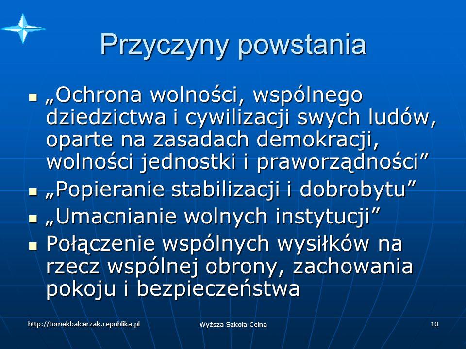 http://tomekbalcerzak.republika.pl Wyższa Szkoła Celna 9 Polska w NATO 8 lipca 1997 r.