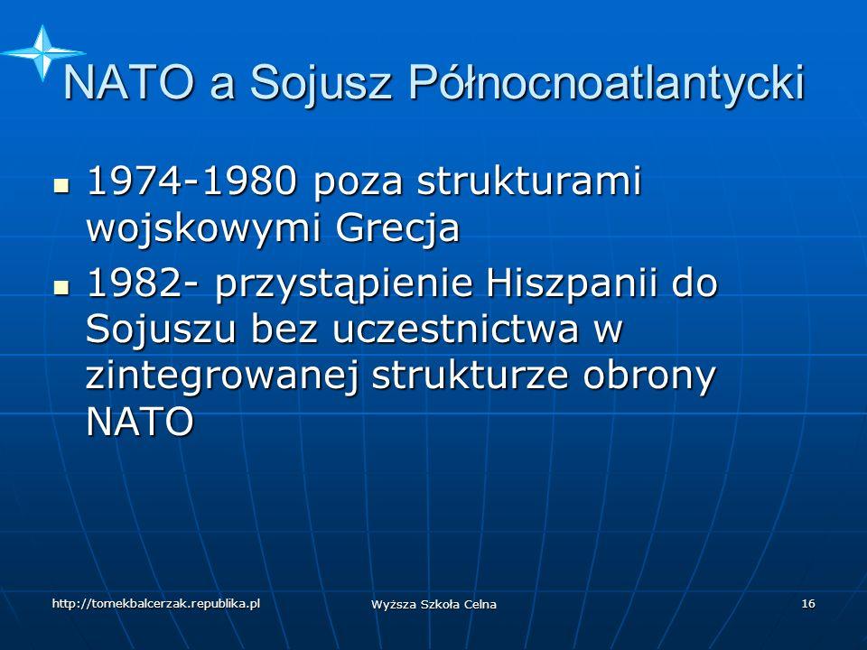 http://tomekbalcerzak.republika.pl Wyższa Szkoła Celna 15 NATO a Sojusz Północnoatlantycki NATO nie jest tożsama z Sojuszem Północnoatlantyckim NATO nie jest tożsama z Sojuszem Północnoatlantyckim NATO- rozległy program polityczny, wojskowy, gospodarczy, naukowo- techniczny NATO- rozległy program polityczny, wojskowy, gospodarczy, naukowo- techniczny Nie wszyscy członkowie NATO są członkami Sojuszu Nie wszyscy członkowie NATO są członkami Sojuszu 1966 r.