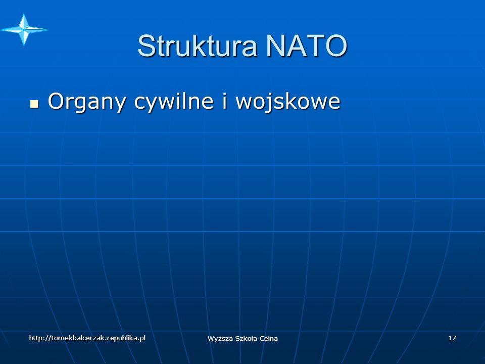 http://tomekbalcerzak.republika.pl Wyższa Szkoła Celna 16 NATO a Sojusz Północnoatlantycki 1974-1980 poza strukturami wojskowymi Grecja 1974-1980 poza strukturami wojskowymi Grecja 1982- przystąpienie Hiszpanii do Sojuszu bez uczestnictwa w zintegrowanej strukturze obrony NATO 1982- przystąpienie Hiszpanii do Sojuszu bez uczestnictwa w zintegrowanej strukturze obrony NATO