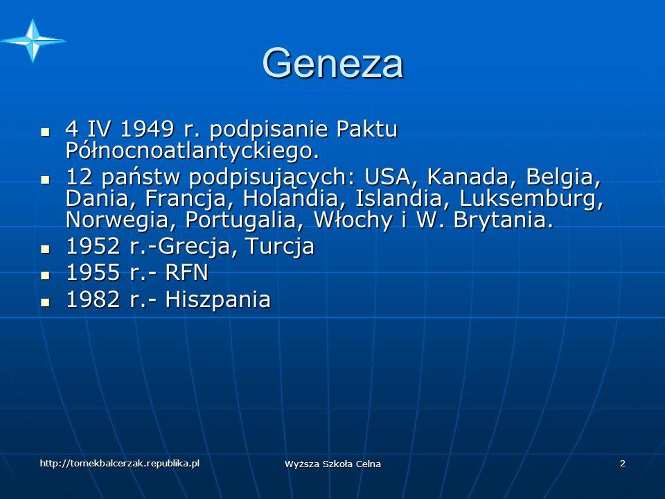 http://tomekbalcerzak.republika.pl Wyższa Szkoła Celna 1 Sojusz Północnoatlantycki NATO North Atlanitic Treaty Organization