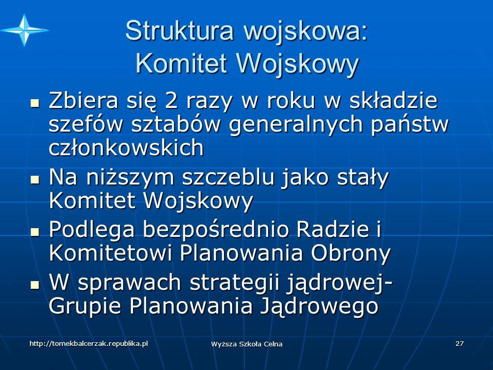 http://tomekbalcerzak.republika.pl Wyższa Szkoła Celna 26 Stałe Komisje-zakres zadań Infrastrukturą, Infrastrukturą, Planowaniem w sferze obrony cywilnej, Planowaniem w sferze obrony cywilnej, Wsparciem logistycznym, Wsparciem logistycznym, Systemami łączności, Systemami łączności, Współpracą zbrojeniową, Współpracą zbrojeniową, Badaniami obronnymi, Badaniami obronnymi, Standaryzacją uzbrojenia, Standaryzacją uzbrojenia, Bezpieczeństwem (kontrwywiad) Bezpieczeństwem (kontrwywiad) Koordynacją lotów w przestrzeni europejskiej Koordynacją lotów w przestrzeni europejskiej