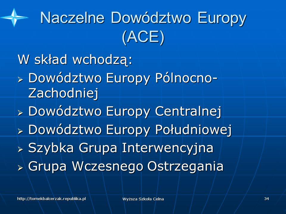 http://tomekbalcerzak.republika.pl Wyższa Szkoła Celna 33 Dowództwa regionalne Naczelne Dowództwo Europy (ACE) z siedzibą w Casteau (Belgia) Naczelne Dowództwo Europy (ACE) z siedzibą w Casteau (Belgia) Obejmuje swym zasięgiem obszary lądowe rozciągające się od Przylądka Północnego do południowego krańca Włoch oraz od Atlantyku (z wyłączeniem Portugalii) po wschodnią granicę Turcji Obejmuje swym zasięgiem obszary lądowe rozciągające się od Przylądka Północnego do południowego krańca Włoch oraz od Atlantyku (z wyłączeniem Portugalii) po wschodnią granicę Turcji