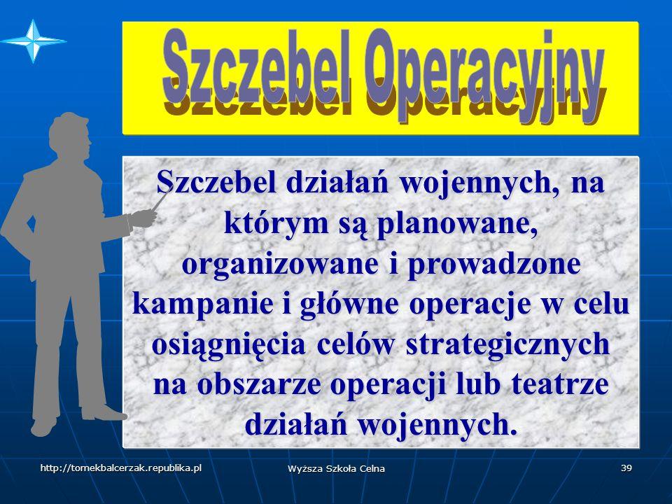 http://tomekbalcerzak.republika.pl Wyższa Szkoła Celna 38 Grupy państw określają swoje cele narodowego bądź międzynarodowego bezpieczeństwa i wykorzystują wszystkie dostępne środki / w tym militarne / dla ich osiągnięcia.