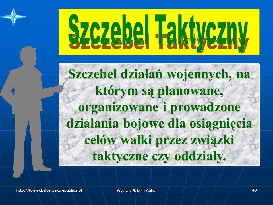 http://tomekbalcerzak.republika.pl Wyższa Szkoła Celna 39 Szczebel działań wojennych, na którym są planowane, organizowane i prowadzone kampanie i główne operacje w celu osiągnięcia celów strategicznych na obszarze operacji lub teatrze działań wojennych.
