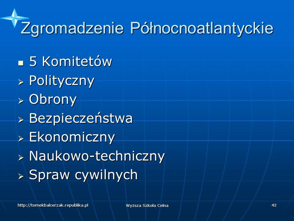 http://tomekbalcerzak.republika.pl Wyższa Szkoła Celna 41 Zgromadzenie Północnoatlantyckie Przedstawiciele parlamentów państw członkowskich.