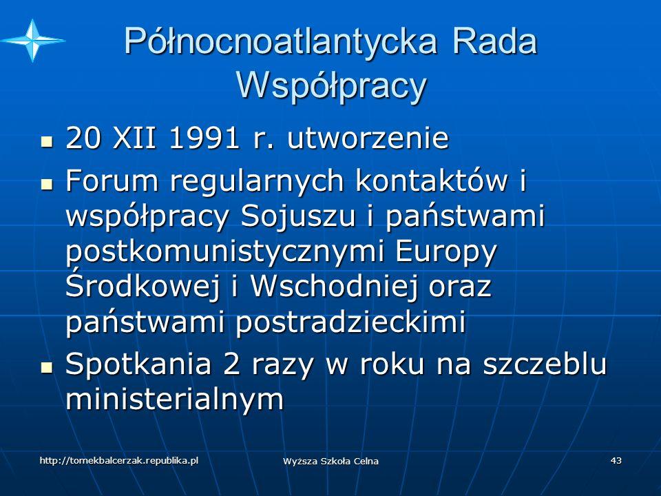 http://tomekbalcerzak.republika.pl Wyższa Szkoła Celna 42 Zgromadzenie Północnoatlantyckie 5 Komitetów 5 Komitetów Polityczny Polityczny Obrony Obrony Bezpieczeństwa Bezpieczeństwa Ekonomiczny Ekonomiczny Naukowo-techniczny Naukowo-techniczny Spraw cywilnych Spraw cywilnych