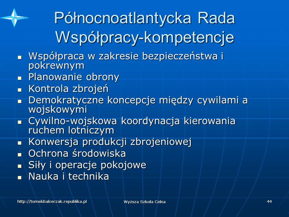 http://tomekbalcerzak.republika.pl Wyższa Szkoła Celna 43 Północnoatlantycka Rada Współpracy 20 XII 1991 r.