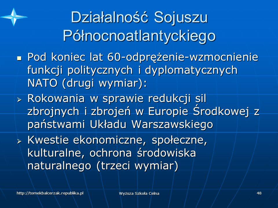 http://tomekbalcerzak.republika.pl Wyższa Szkoła Celna 47 Działalność Sojuszu Północnoatlantyckiego Od 1954 r.