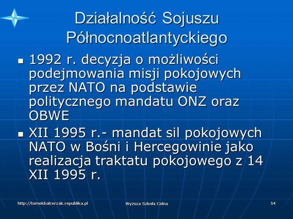 http://tomekbalcerzak.republika.pl Wyższa Szkoła Celna 53 Działalność Sojuszu Północnoatlantyckiego 7-8 XI 1991 r.