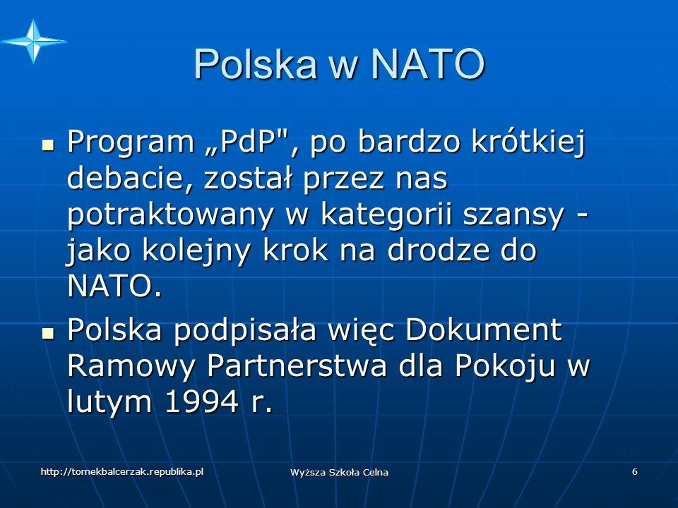 http://tomekbalcerzak.republika.pl Wyższa Szkoła Celna 5 Polska w NATO W listopadzie 1992 roku ogłoszono takie dokumenty, jak: Założenia polskiej polityki bezpieczeństwa oraz Polityka bezpieczeństwa i strategia obronna Rzeczypospolitej Polskiej- ogłoszono więc doktrynę.