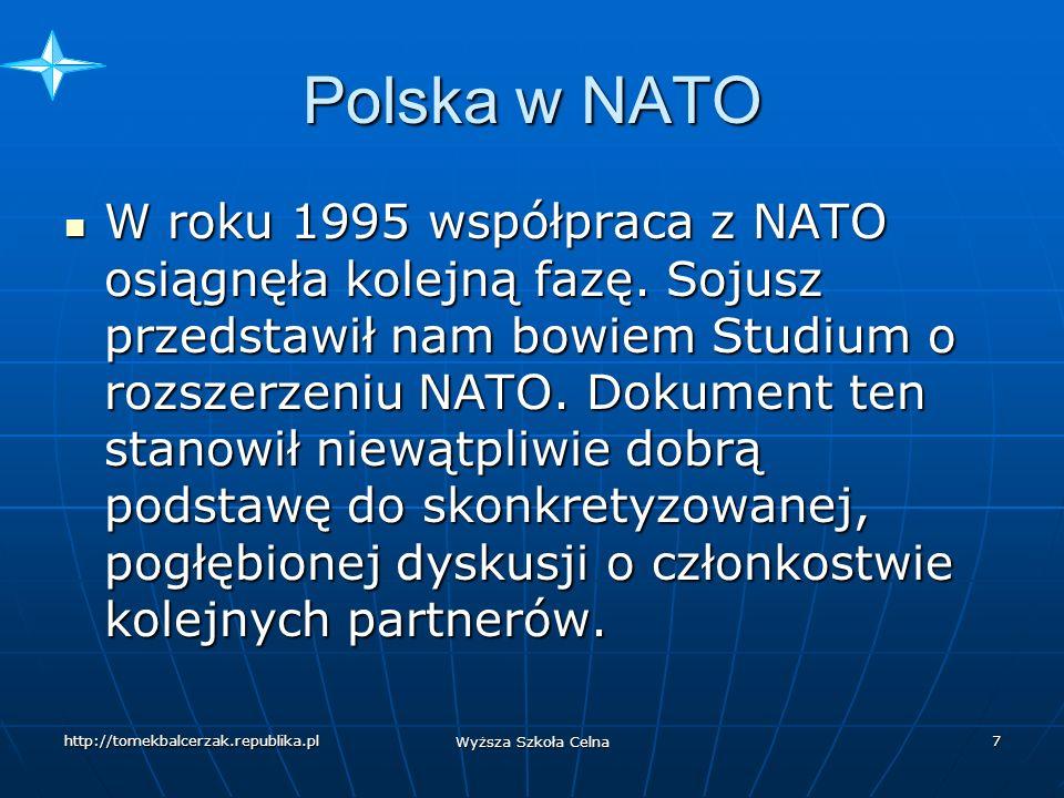 http://tomekbalcerzak.republika.pl Wyższa Szkoła Celna 6 Polska w NATO Program PdP , po bardzo krótkiej debacie, został przez nas potraktowany w kategorii szansy - jako kolejny krok na drodze do NATO.