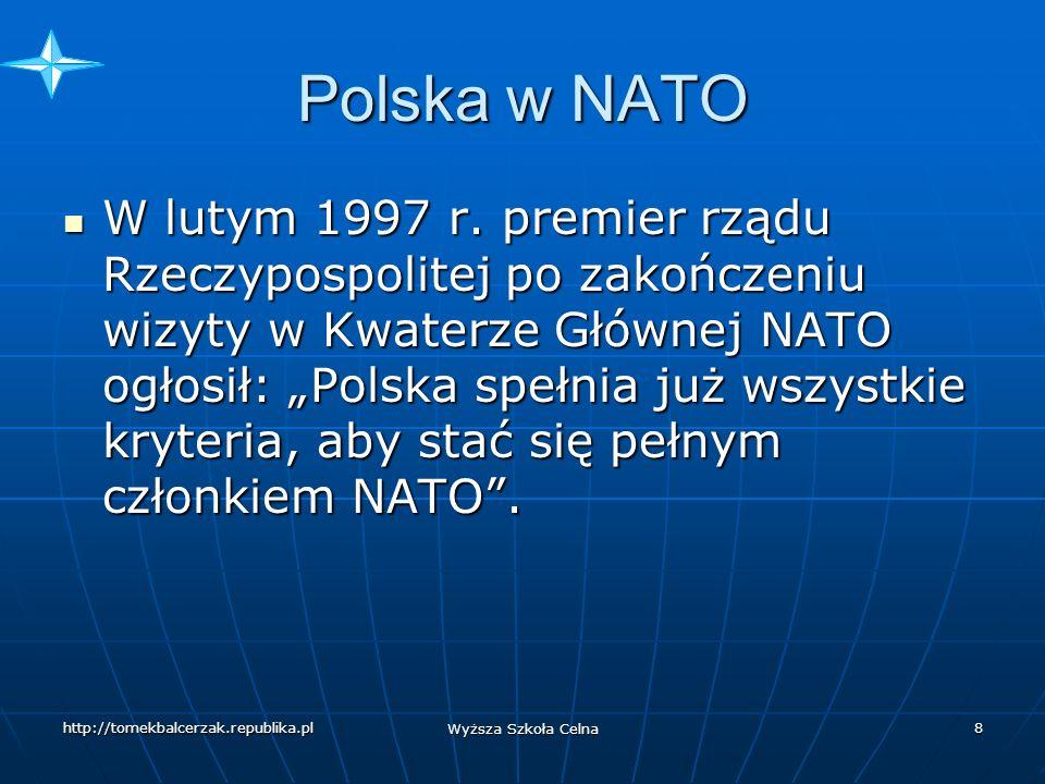 http://tomekbalcerzak.republika.pl Wyższa Szkoła Celna 7 Polska w NATO W roku 1995 współpraca z NATO osiągnęła kolejną fazę.