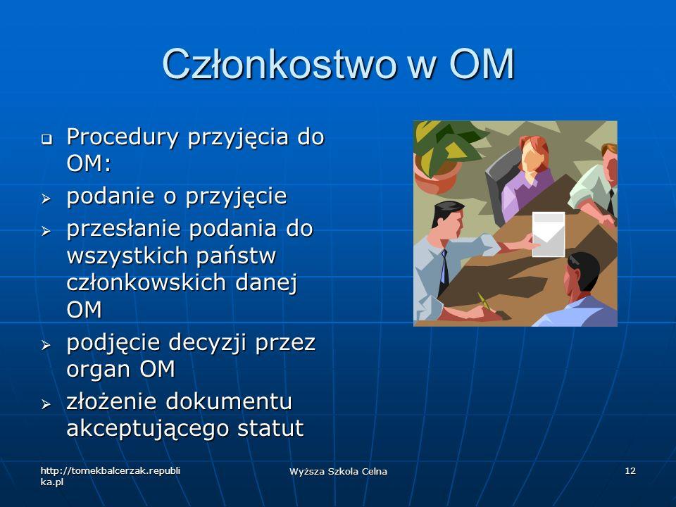 http://tomekbalcerzak.republi ka.pl Wyższa Szkola Celna 12 Członkostwo w OM Procedury przyjęcia do OM: Procedury przyjęcia do OM: podanie o przyjęcie