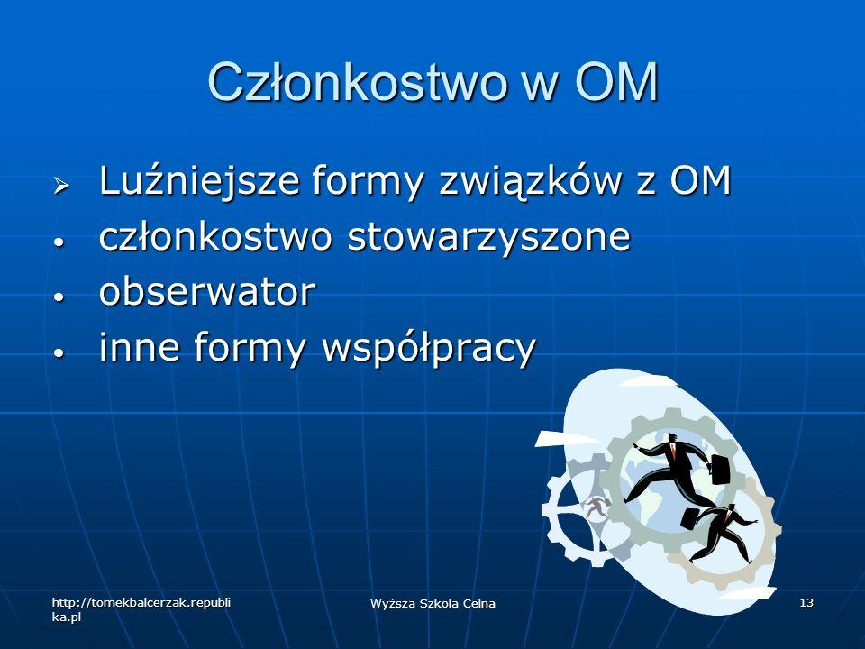 http://tomekbalcerzak.republi ka.pl Wyższa Szkola Celna 13 Członkostwo w OM Luźniejsze formy związków z OM Luźniejsze formy związków z OM członkostwo