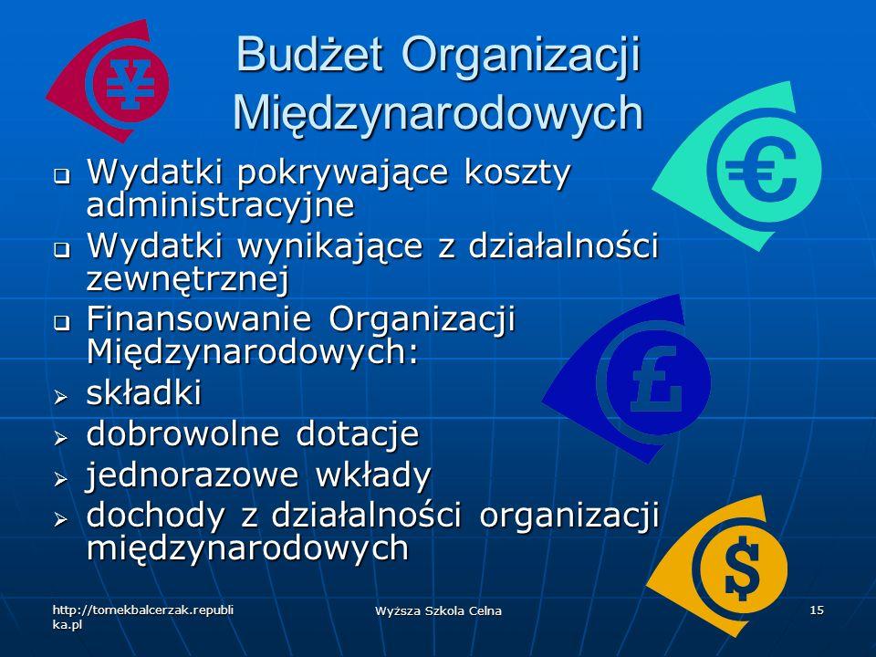http://tomekbalcerzak.republi ka.pl Wyższa Szkola Celna 15 Budżet Organizacji Międzynarodowych Wydatki pokrywające koszty administracyjne Wydatki pokr