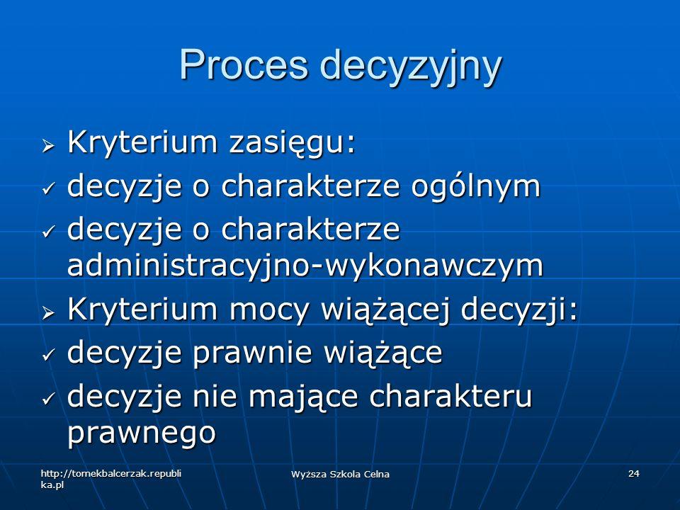 http://tomekbalcerzak.republi ka.pl Wyższa Szkola Celna 24 Proces decyzyjny Kryterium zasięgu: Kryterium zasięgu: decyzje o charakterze ogólnym decyzj