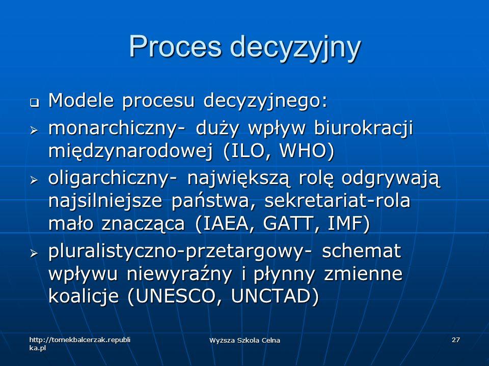 http://tomekbalcerzak.republi ka.pl Wyższa Szkola Celna 27 Proces decyzyjny Modele procesu decyzyjnego: Modele procesu decyzyjnego: monarchiczny- duży