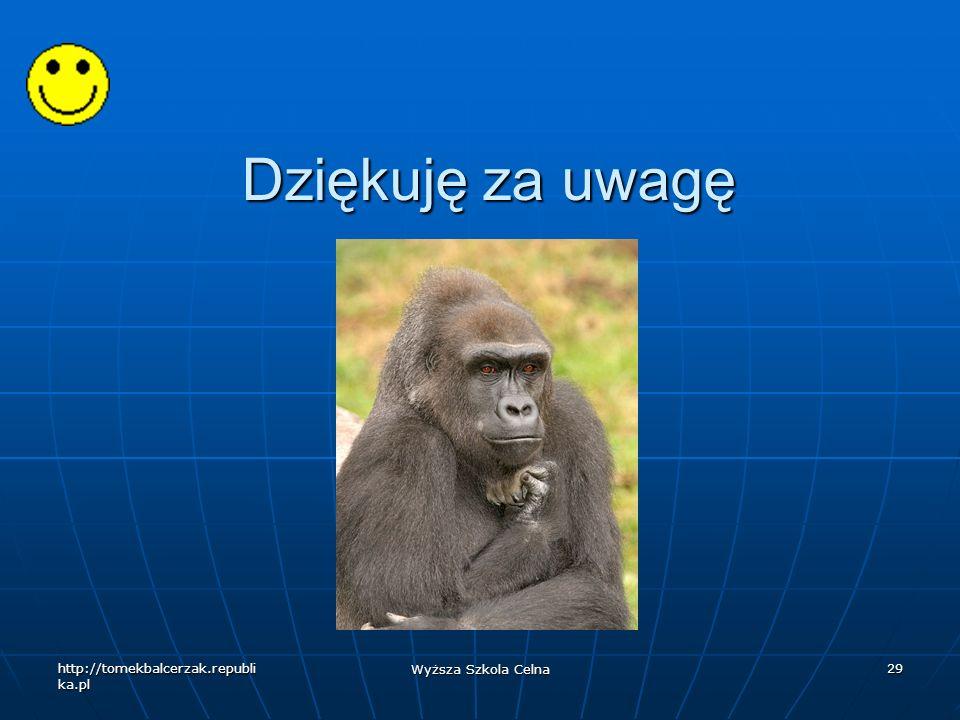 http://tomekbalcerzak.republi ka.pl Wyższa Szkola Celna 29 Dziękuję za uwagę