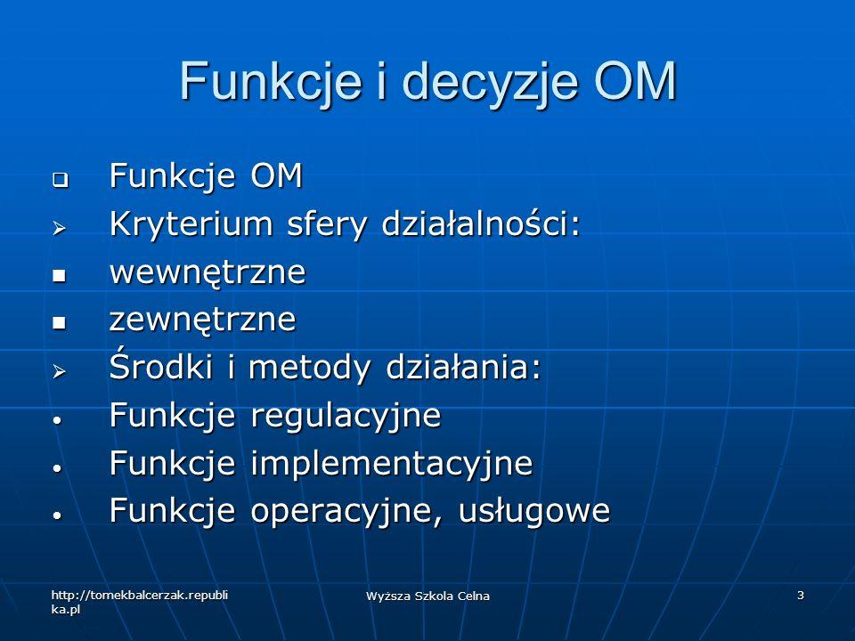 http://tomekbalcerzak.republi ka.pl Wyższa Szkola Celna 3 Funkcje i decyzje OM Funkcje OM Funkcje OM Kryterium sfery działalności: Kryterium sfery dzi