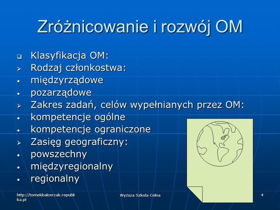 http://tomekbalcerzak.republi ka.pl Wyższa Szkola Celna 5 Zróżnicowanie i rozwój OM Funkcje spełniane przez OM: Funkcje spełniane przez OM: organizacje debatujące, forum organizacje debatujące, forum typ usługowy typ usługowy charakter zrównoważony charakter zrównoważony Siła oddziaływania na członków: Siła oddziaływania na członków: międzynarodowe międzynarodowe ponadnarodowe ponadnarodowe