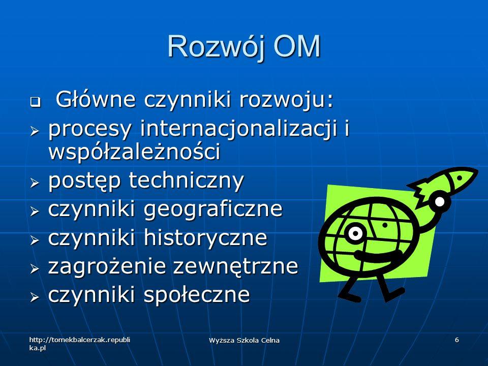 http://tomekbalcerzak.republi ka.pl Wyższa Szkola Celna 17 Funkcjonariusze Międzynarodowi Wymogi: Wymogi: bezstronność bezstronność fachowe umiejętności: dyplomacja, umiejętności negocjacyjne, menedżerskie, organizacyjne fachowe umiejętności: dyplomacja, umiejętności negocjacyjne, menedżerskie, organizacyjne znajomość dziedziny, którą zajmuje się dana OM znajomość dziedziny, którą zajmuje się dana OM uczciwość, brak podatności na naciski uczciwość, brak podatności na naciski